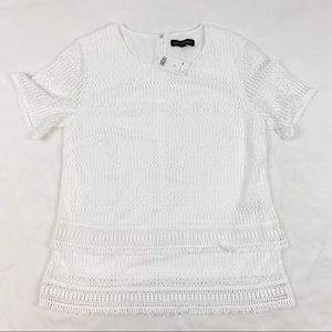Banana republic short sleeve white lace top